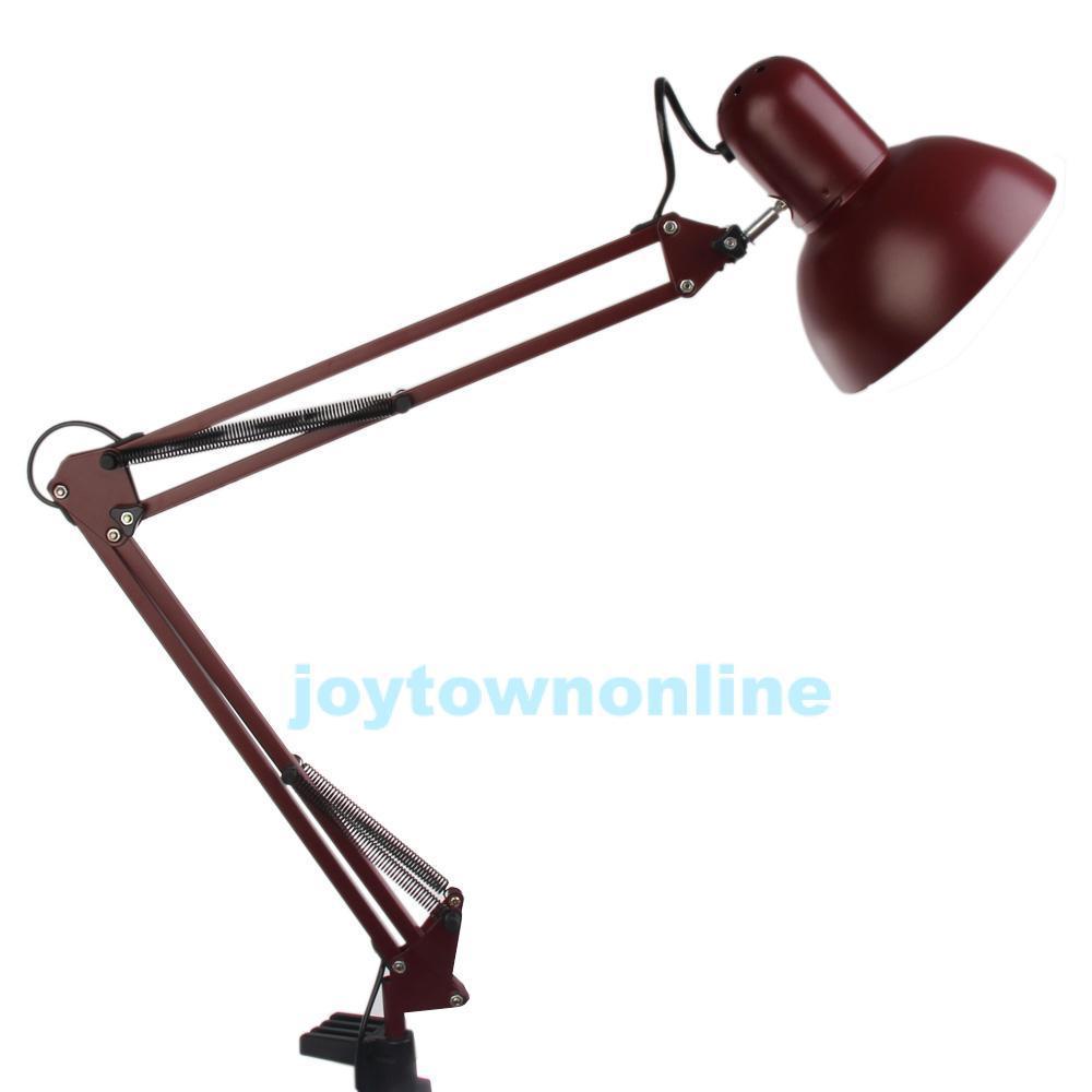 Swing Arm Drafting Light Desk Adjustable Height Light Home Office Dark Red #1JT(China (Mainland))