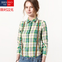 Full 100% brioso2014 autumn cotton plaid shirt female cool long-sleeve shirt women's plus size