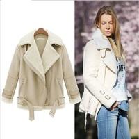 WPY19 2014 New Arrival Autumn Winter Coat Tops Designer Casual Outerwear Fashion Women Beige Lapel Long Sleeve Zipper Wool Coat
