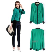 Lady's Solid Color Chiffon Pleated OL Long Sleeve Botton Down Shirt Blouse Tops