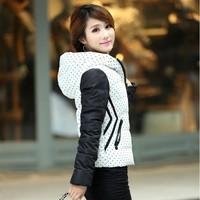 2014 womens Winter outerwear wadded jacket female dot color block decoration jacket coat cotton-padded jacket plus size