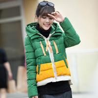 2014 winter women's loose cotton-padded jacket short design ladies jacket coat hood outerwear color block decoration