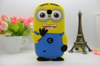New 3D Cute Cartoon Despicable Me Minion Soft Silicone Back Universal Cases Cover For Samsung galaxy s4 SIV i9500