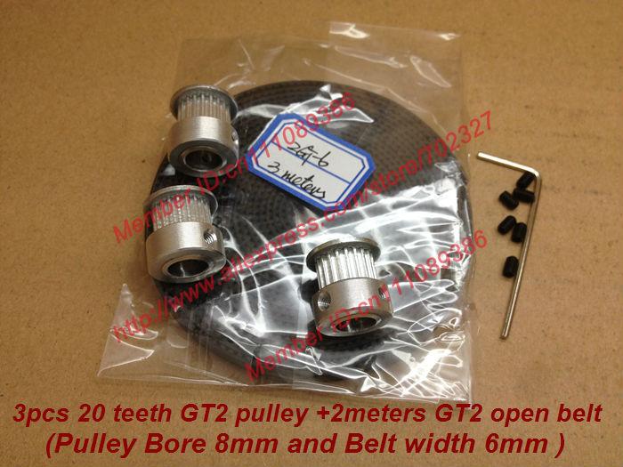2meters GT2 correia dentada + 3pcs 20 dentes GT2 sincronismo Polia 8 milímetros Diâmetro Largura da correia fit 6 milímetros para 3D MakerBot impressora RepRap Prusa(China (Mainland))