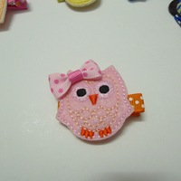 5pcs Pink Owl Pattern New Born Baby Toddler Grosgrain Ribbon Lined Alligator Clips Min. Combine order $10
