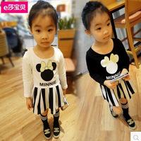 Free shipping Retail 2014 autumn new cartoon girls dress sub Korean one