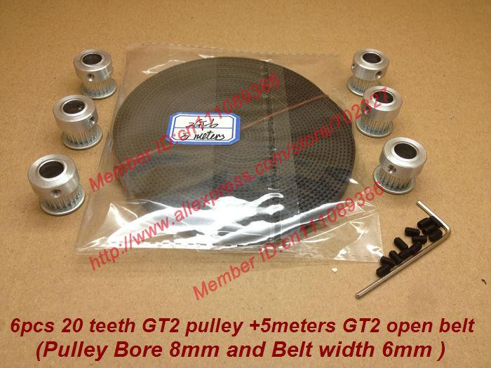 Venda 6 pcs 20 dentes GT2 sincronismo polia Bore 8 mm e 5 metros GT2 correia dentada largura 6 mm fit para makerbot reprap prusa impressora 3D(China (Mainland))