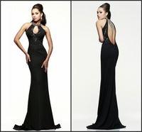 Wholesale 2014 New Arrival Mermaid Evening Dresses Halter Appliques Beading Open Back Long Sexy Prom Evening Gown