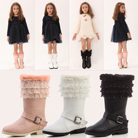 New 2014 winter girls boots child snow boots princess string boots children Mid-calf boots pink white black shoes free shipping