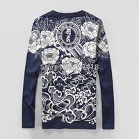 new 2014 fashion high quality Westcoast novelty long sleeve O-neck 100% cotton T-shirt men dragon print free shipping