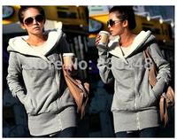 2014  Women Hoodie Coat Zip Up Outerwear Warm Jackets/Coats for Women Sport sweatshirt Thickening Fur