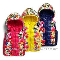 2014 Winter Girl brand vest Fashion flowers hooded jacket Children's coat GOP Retail Free shipping