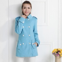 2014 new winter women thick candy-colored wool coat lapel double-breasted waist coat (containing 45% wool) #3522