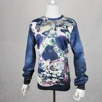 2014 New Arrivals winter Women/Men Summer Flower Skull Head Printed 3d sweatshirt Cool Top Fashion Novelty hoodie pullover black