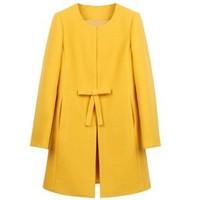 2014  winter clothes new bowknot woolen  women  coat  long sections