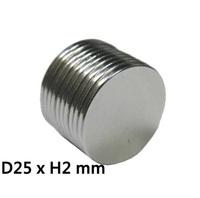 Super Strong Neodymium Rare Earth Magnet N38 Disc 25 mm dia. x 2 mm thick
