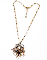 Fashion 2014 Fall Seed Tower Bell Crystal Jeweled Pendant Necklace