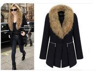 2014 European and American fashion new winter coat fur collar Slim Long woolen coat, free shipping