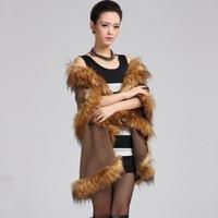 Fashion Women Fur Coat Printing Kniting Winter Long Cape Warm Shawl Cardigan For Women Bat Fox fur W009