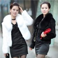(A123)Free shipping Fur coat medium-long mink hair rex rabbit hair cape vest black and white fur overcoat imitation rabbit fur