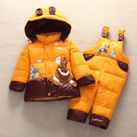 Child down coat set male girls clothing thickening baby bib pants open file children jacket suits boys girls winter jacket