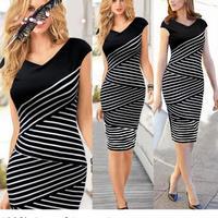 New Fashion Women Summer dress 2014 Celeb Style Slim Bandage Tunic black white stitching dresses sexy Party Bodycon Dress