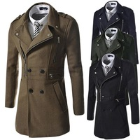 2014 New Arrived Man Jacket&Coat,Coats for men,Fashionable jacket Long sections woolen coat lapel,Free shipping,Turn-down collar