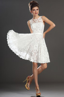 Sexy A-Line O-Neck Ivory Short Lace Prom Dress Woman Free Shipping