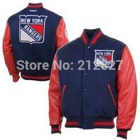 Free shipping wholesale cheap hockey New York Rangers BLUE stitched jacket