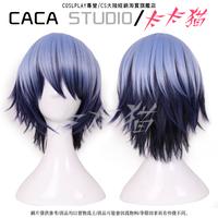 Azuma Tokaku Blue Black Short Shaggy Layered Cosplay Anime Wig