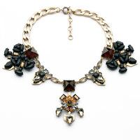 2014 Fall New Arrival Metal Alloy Crystal Rhinestone Setting Bib Statement Necklace