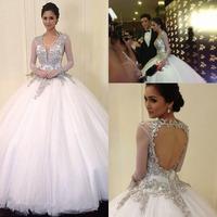 Sexy Bling Princess Wedding Gown 2014 vestidos noivas Cap Sleeves Bride Dress Long Tulle For Women