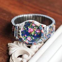 Women Vintage Retro Sport Quartz Watches Printed Flower Personality Wristwatch Cheap New Arrival XWT031