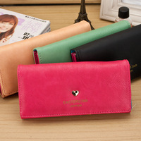 The new fashion Korean Ladies Purse skin card package wallet heart-shaped imprint wallet 0744c