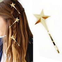 2014 New arrival fashion women's Star Hairpins accessories Jewelry Gold Plated Metal Star jewelery bijoux wholesale