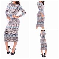 2014 New Fashion Tiki Tribal Women Summer Dress Party Tribal Print Bodycon Bandage Midi Length Maxi Dress