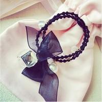 2014 New Korean Style Fashion Hair Bow Crystal Pendant Elastic Hair Bands Hair Accessories