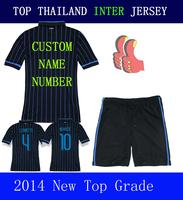 A+++ Sports Suit Milan Home Blue Suit Shirt Thai Soccer Jersey 2015 Kit 14 15 Men Kovacic Palacio Wear