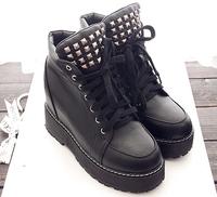 2014 women shoes new arrival autumn winter boots black rivets ankle punk boots for women shoelace shoes platform ankle boots 8cm