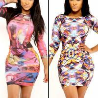 2014 Fashion Clothing Sexy Women Summer Dress Diamond Glass Graphic Swirl Stretch Print Bodycon Bandage Dress