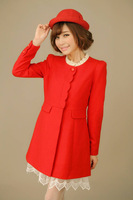 free shipping 2014 new autumn and winter Slim single-breasted wool coat women's long woolen coat # 212