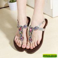 ZR#K17 Diamond leather flat sandals Sheepskin Bohemia shoes sandals