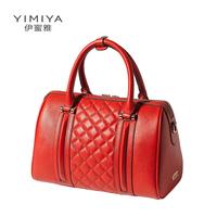 Genuine leather women's handbag fashion 2014 for BOSS pillow cowhide handbag one shoulder plaid women's bags