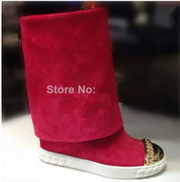 Free shipping 2014 Brand New casade genuine leather gold inside wedge popular women boots good quality