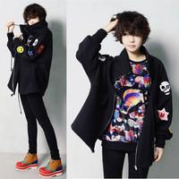 autumn & winter embroidered skull cotton zipper outerwear punk plus size long-sleeve outerwear cardigan plus velvet sweatshirt