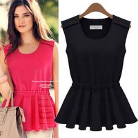 2014 women's fashion slim solid color sleeveless chiffon shirt top
