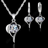 2014 Romantic Fashion CZJewelry Sets Pure 925 Sterling Silver Swiss Cubic Zircon Heart Shaped Pendant Necklace Hoop Earrings Set