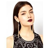 New 2014  Punk Style Fashion Metal Tassel  Dangle Earrings Long Earrings For Women  2 pairs/Lot