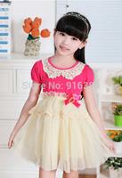 Wholesale-Summer Children Dress Korean Pearl Pure Cotton Net Yarn Girls Lace Dress 2-7Year Kids Clothing 5p/l