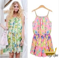 2014 summer fashion chiffon expansion  suspender  one-piece dress